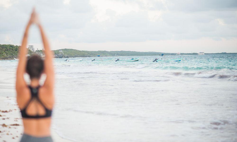 Tulum Yoga Beach Practicing